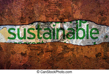 Sustainable text ongrunge background