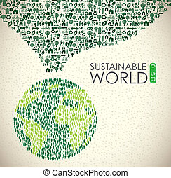 Sustainable world over vintage background vector illustration