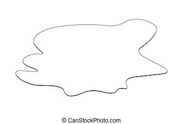 sustancia, drop., charco, silueta, spill., aislado, plash, vector, negro, ilustración, plano de fondo, mancha, blanco