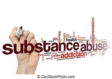 sustancia, palabra, abuso, nube