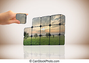 sustentável, crescimento, concept:, mão, e, cubos
