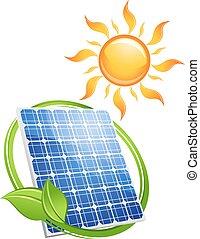 sustentável, energia, conceito, solar