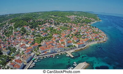 Sutivan Brac Island, aerial shot - Copter aerial view of the...