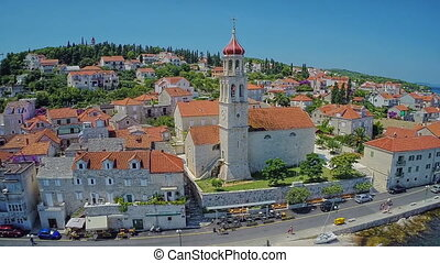 Sutivan old town church, aerial shot - Copter aerial view of...