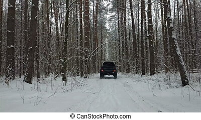 SUV 6x6 rides by winter road in snow-covered forest, back...