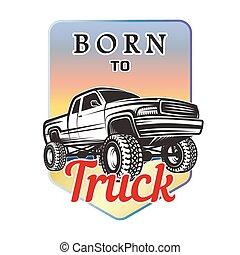 suv, autó, terep-, embléma, születésű, 4x4, jelvény