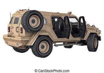Suv auto 4wd with open doors. 3D rendering