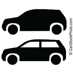 suv, automobilen, isoleret, på hvide