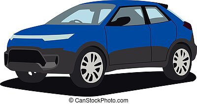 SUV blue realistic vector illustration isolated