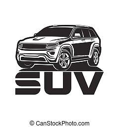 suv, car, ícone, logotipo, desenho