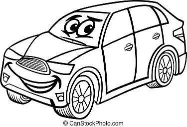 suv car cartoon coloring page - Black and White Cartoon...