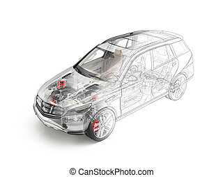 Suv car detailed cutaway realistic morphing to drawing. -...