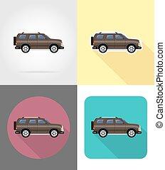 suv car flat icons vector illustration