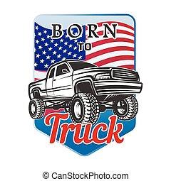 suv, car, fora-estrada, emblema, nascido, 4x4, emblema