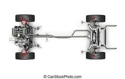 SUV Car Under carriage technical 3 D rendering. Top view.