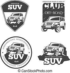 Suv car vector emblems, labels and logos