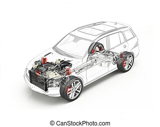Suv cutaway drawing showing undercarriage details with...