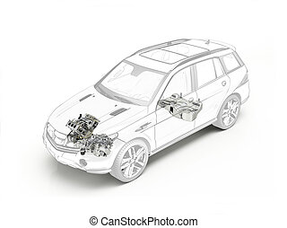 Suv cutaway drawing showing engine and fuel tank. in ghost...