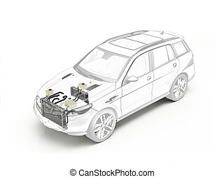 Suv cutaway showing cooling system. - Suv technical drawing...