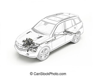 Suv cutaway showing engine and exhaust system. - Suv cutaway...