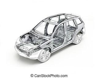 suv, desenho técnico, mostrando, a, car, chassis.