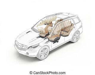 suv, desenho técnico, mostrando, assentos, e, airbags.