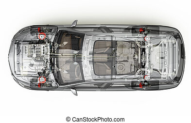 Suv detailed cutaway 3D rendering. Top view.