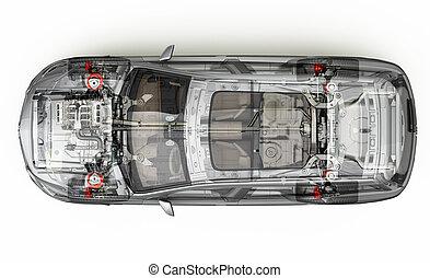 suv, detaljeret, cutaway, 3, rendering., top, udsigter.