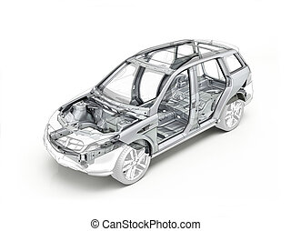 suv, dibujo técnico, actuación, el, coche, chassis.