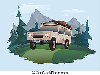 SUV driving on a forest road. Jeeping emblem. Traveling by off-road car. Vector isolated illustration.