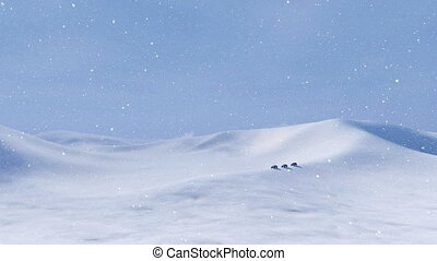 SUV driving through snow desert at snowstorm - Winter...