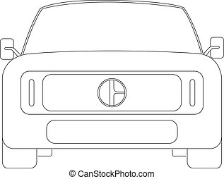 SUV front car contour vector illustration isolated no background
