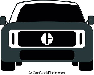 SUV front car grey vector illustration isolated