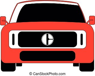 SUV front car red vector illustration isolated
