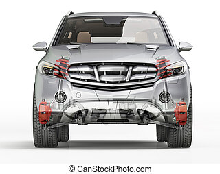 Suv front suspension system in ghost effect. Front view. On ...