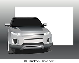 SUV, front view, on a background of a blank white banner.