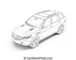 Suv generic car stylized 3D rendering. On white bacground.