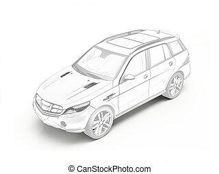 suv, generico, automobile, stilizzato, 3d, rendering.