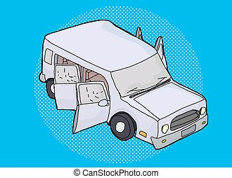 SUV Illustration Over Blue