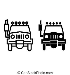 Suv line and glyph icon. Car vector illustration isolated on white. Transport outline style design, designed for web and app. Eps 10.