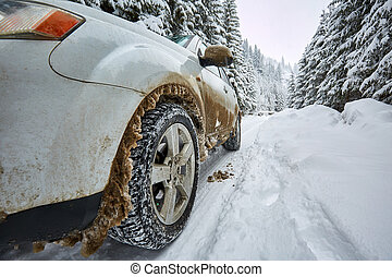 SUV on a mountain road
