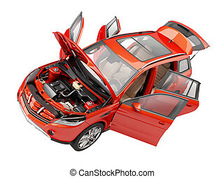 Suv red car with open doors viewed from above.