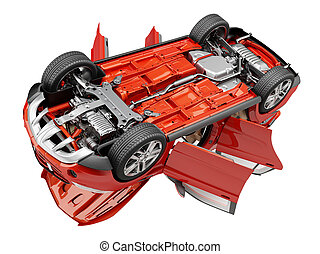 Suv red car with open doors viewed from bottom.