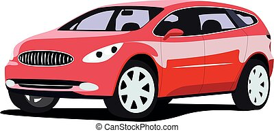 SUV red realistic vector illustration isolated