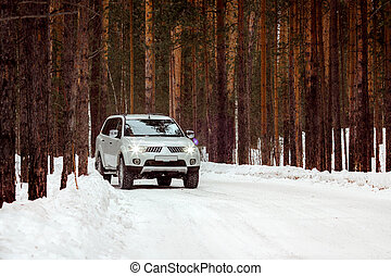 SUV rides on a winter forest road