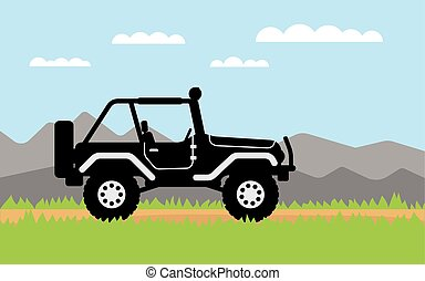 SUV rides on off-road trail, background of mountains. Active outdoor recreation with family. car. Vehicle SUV. Beautiful landscape. vector car. flat design 4WD car illustration