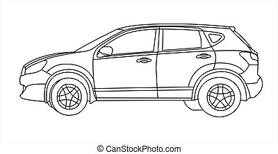 SUV, side view.