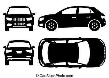 SUV silhouette vector illustration with side, front, back, top view
