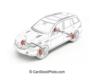 Suv technical drawing showing brakes system.
