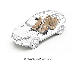 Suv technical drawing showing seats.